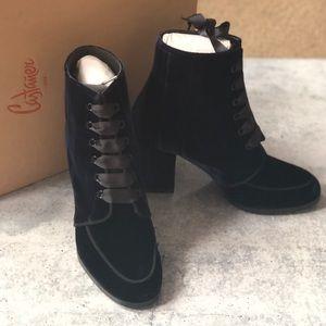 NEW Castañer Xian Velvet Block Heel Lace Up Boot 6